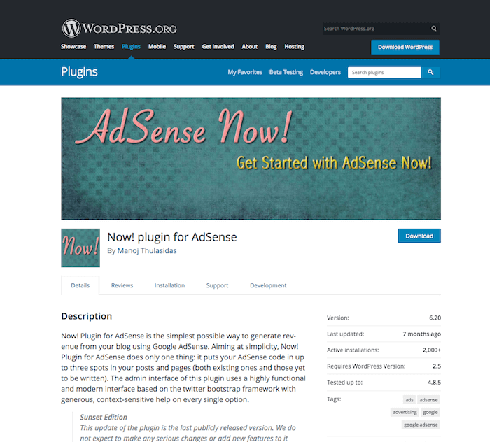 Now! plugin for AdSense