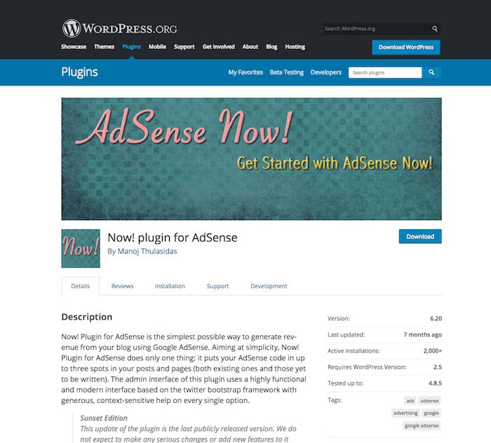 Now! plugin for AdSense