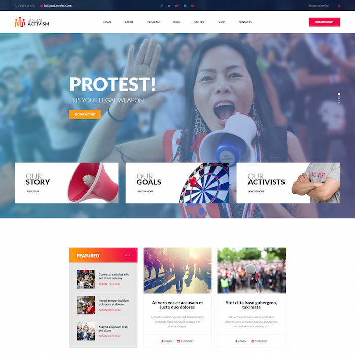 Social Activism Non-Government Organization WordPress Theme