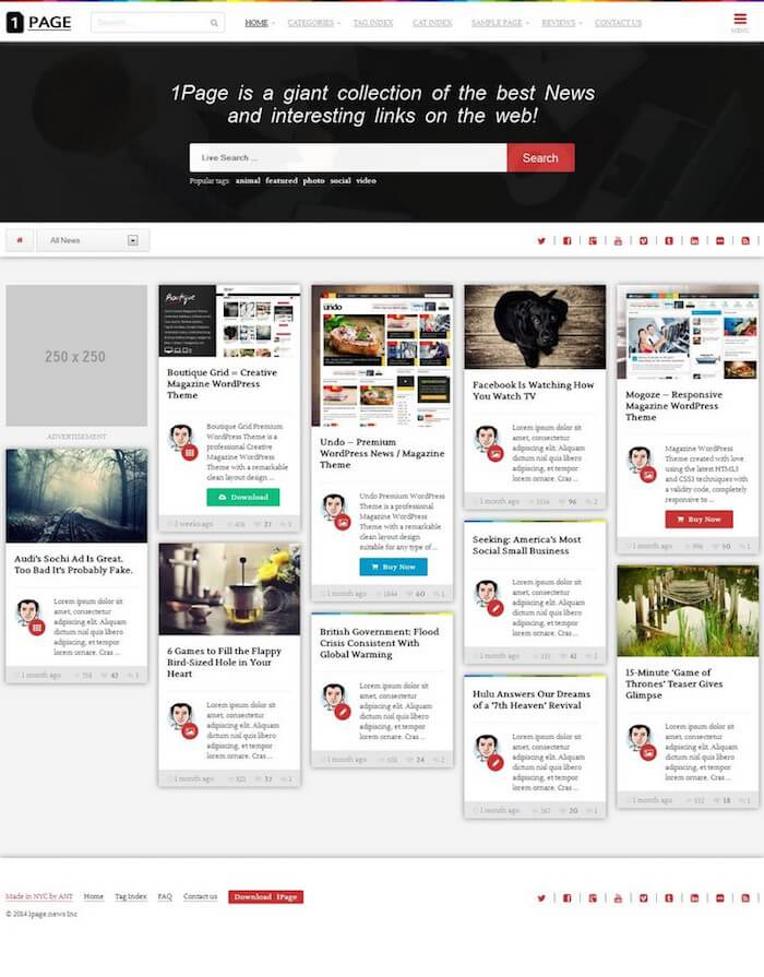 1Page Masonry WordPress Theme