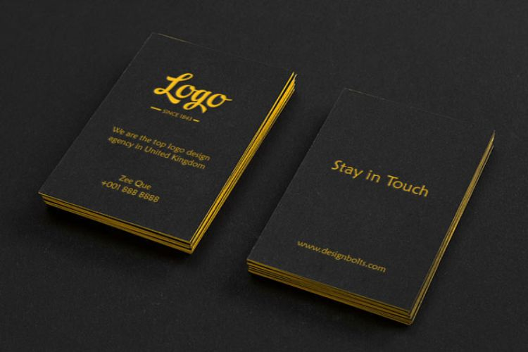 Black Vertical Business Card Mockup