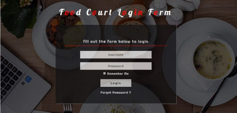 Food Court Login Form