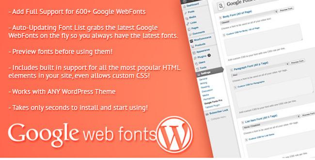Google Web Fonts for WordPress