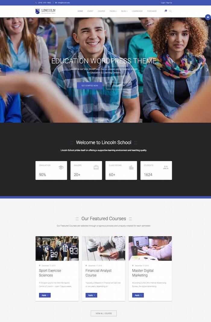 Lincoln Education WordPress Theme