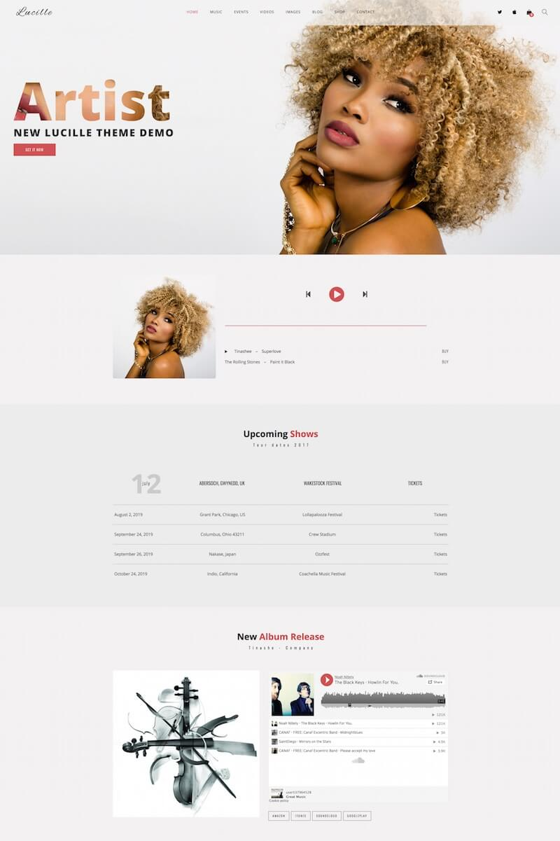 Lucille Music WordPress Theme