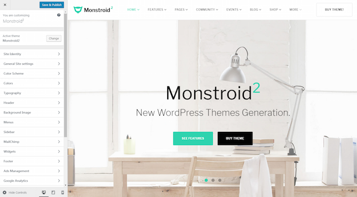 Monstroid 2 Customizer