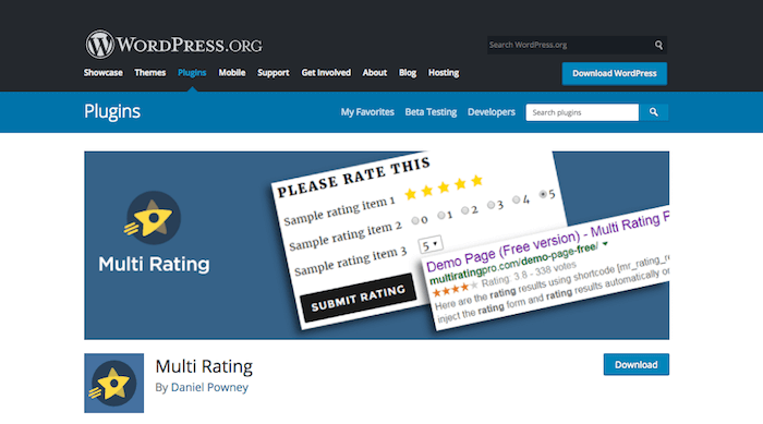Top post rating WordPress plugin