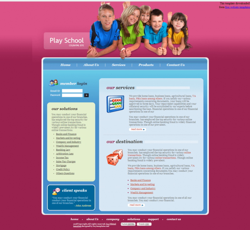 Play School Template