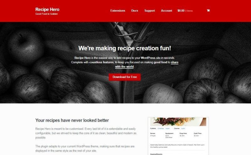 Recipe Hero Plugin