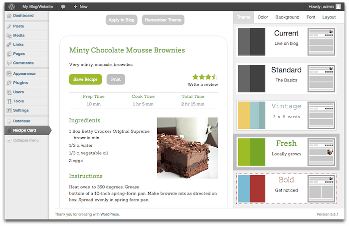 Recipe Card WordPress Plugin
