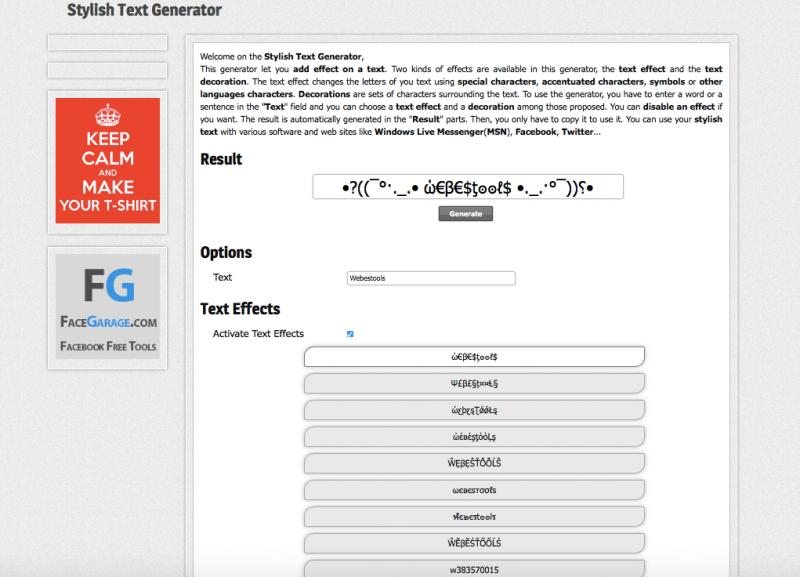 Stylish Text Generator by Webestools