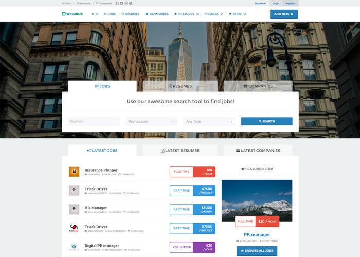 WPJobus - Job Board Resumes WordPress Theme
