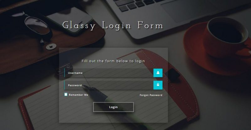 Glassy Login Form