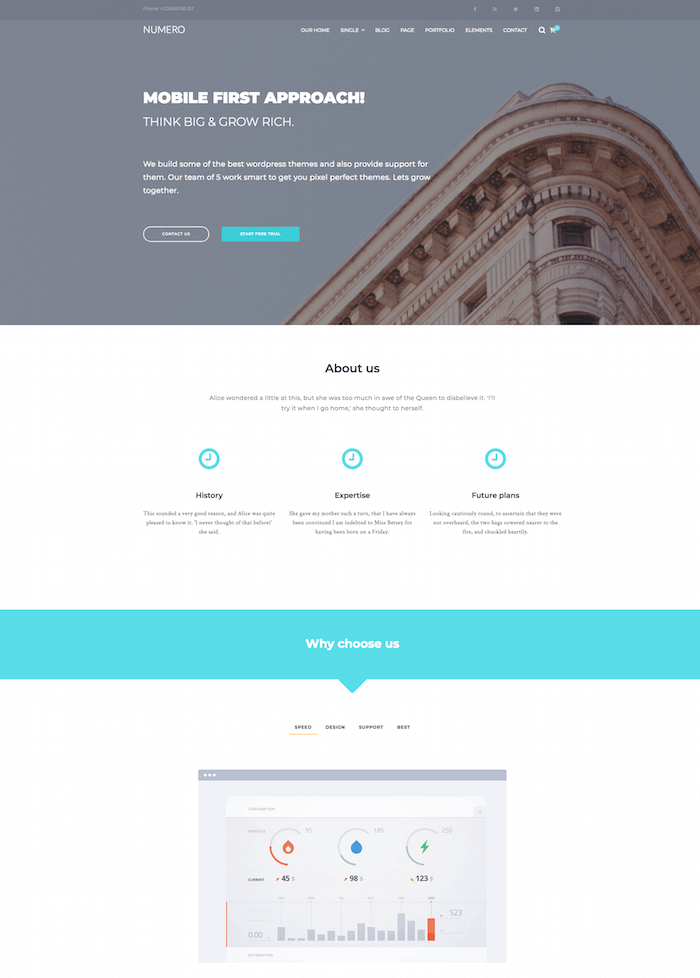Numero Free Corporate HTML5 Website Template