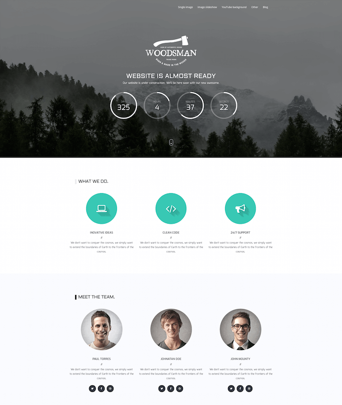 Woodsman Coming Soon WordPress Theme