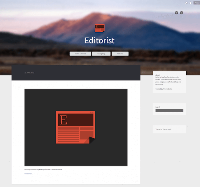 Editorist Free Tumblr Theme
