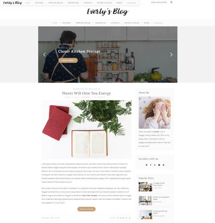 Everly Blogging Theme