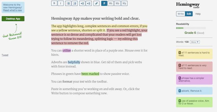 Hemingway Grammar Tool
