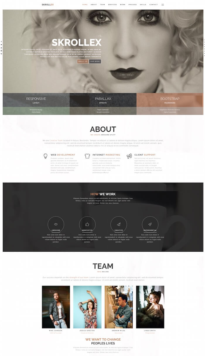 Skrollex Creative One Page Parallax Template