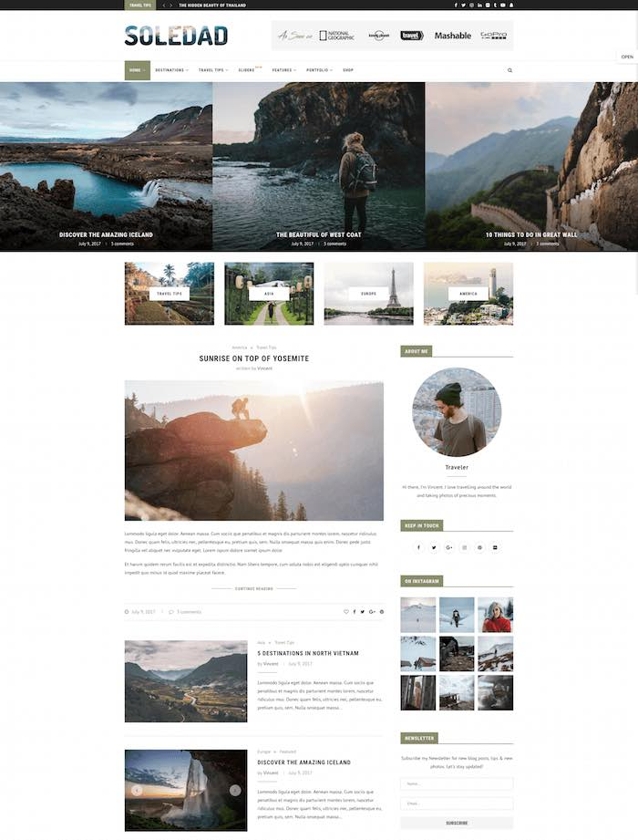 Soledad Blogging Theme