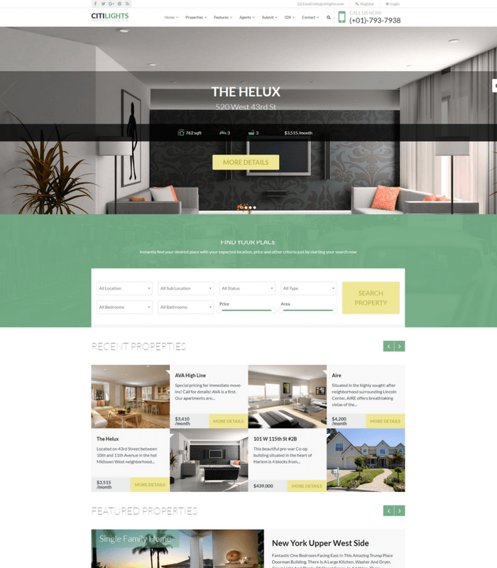 citilights property WordPress theme
