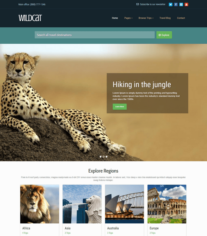 wildcat travel wordpress theme