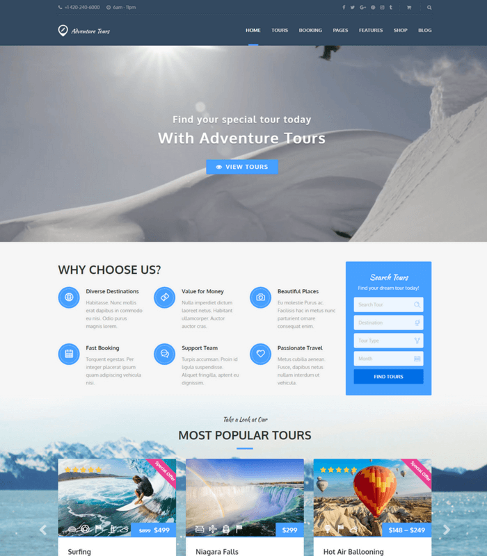 adventure tour WordPress theme