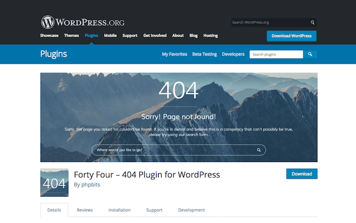 Forty Four 404 Plugin for WordPress
