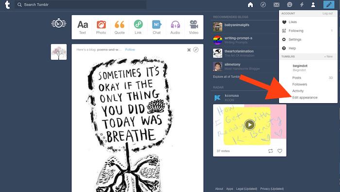Tumblr Background option