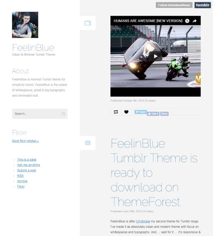 feelinblue minimal Tumblr theme