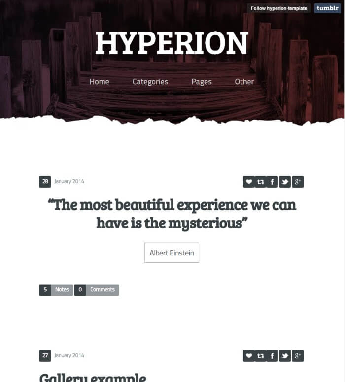 hyperion Tumblr theme