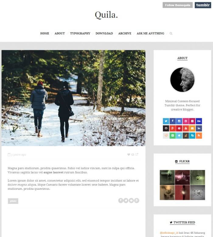 quila clean Tumblr theme