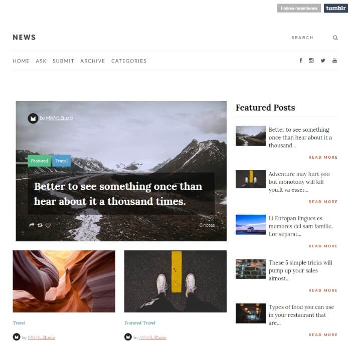 news Tumblr theme
