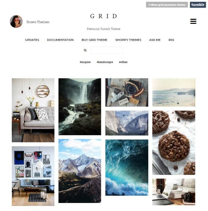 grid tumblr theme