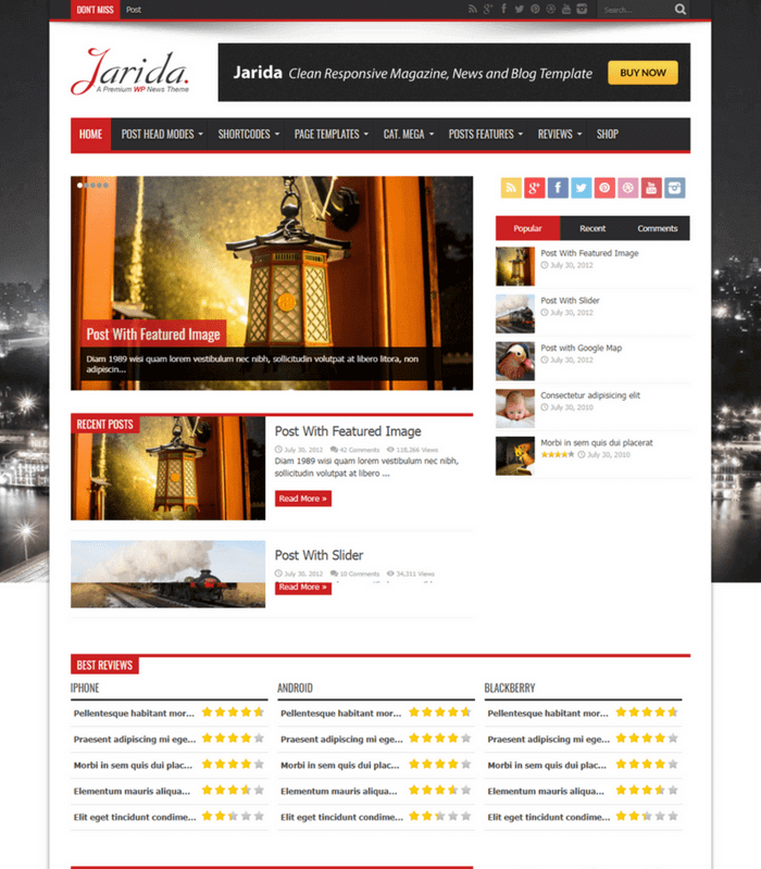 jarida news magazine WordPress theme