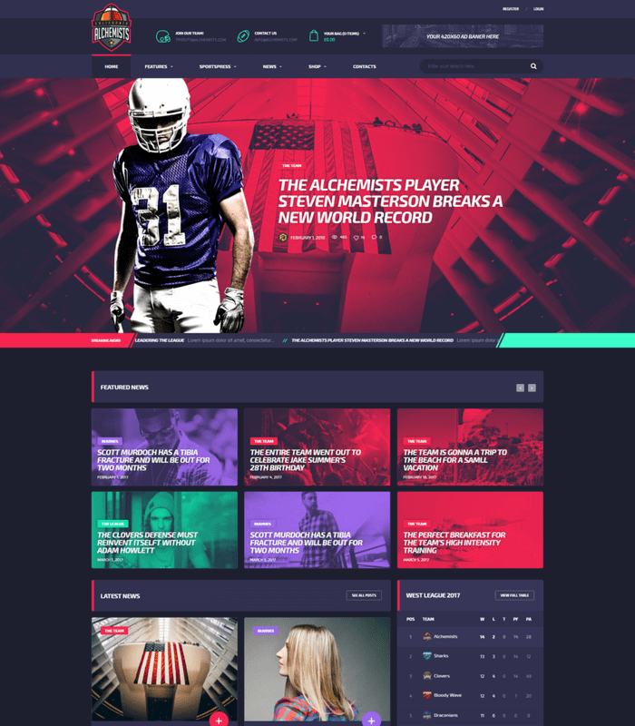 Alchemist Sports News Magazine Theme