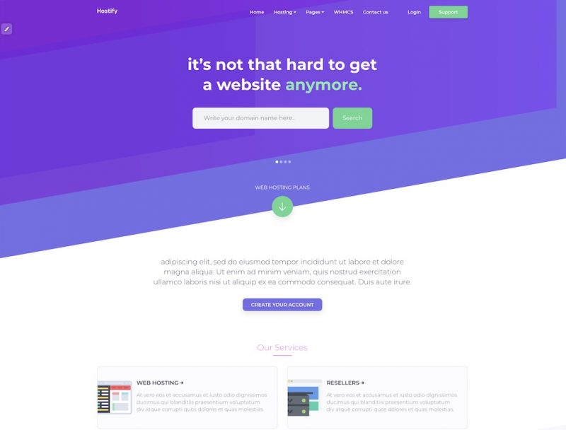 Hostify HTML Template