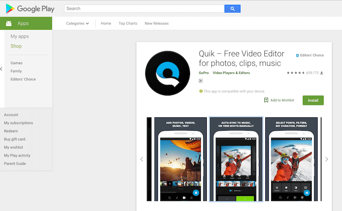 Quik Video Editing Android App