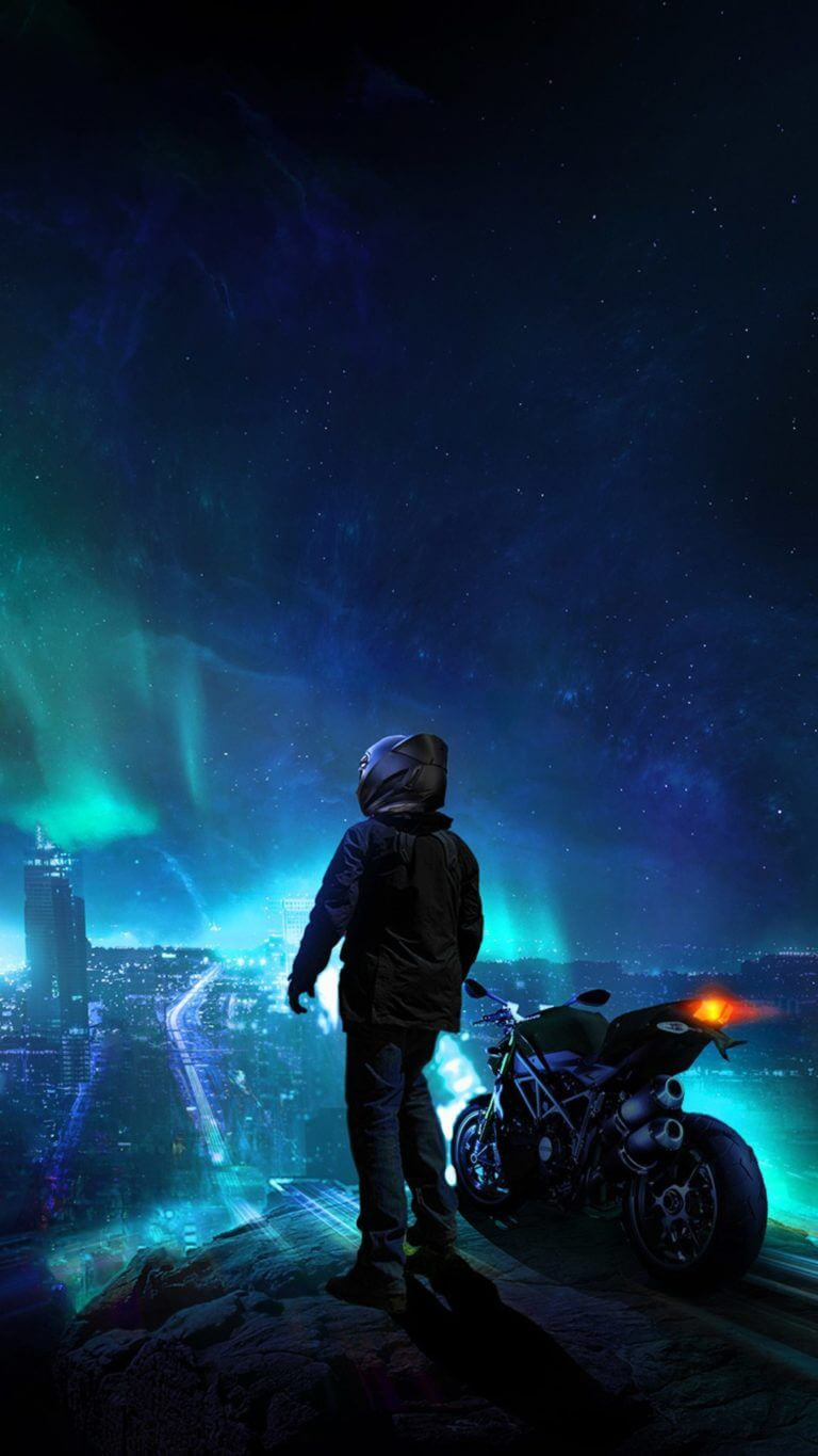 Skylines Biker Bluecity Photomanipulation Blue Wallpaper