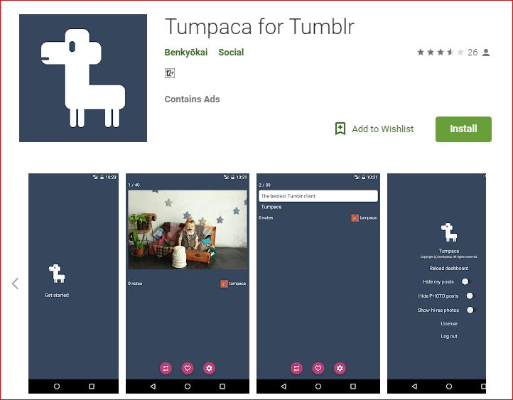 Tumpaca Tumblr App