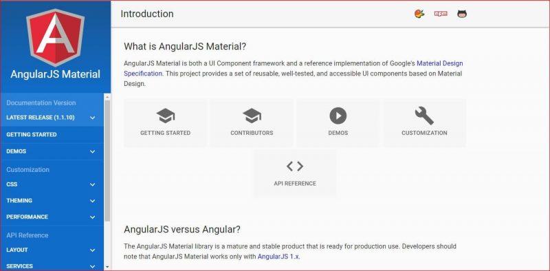 Angular JS Material Design Framework