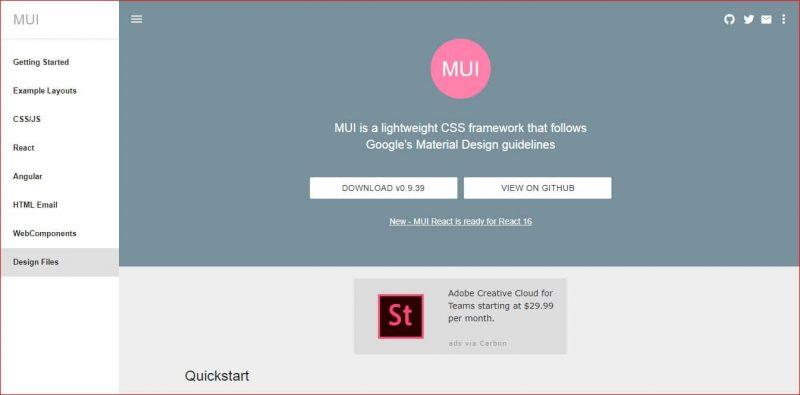 MUI Material Design Framework