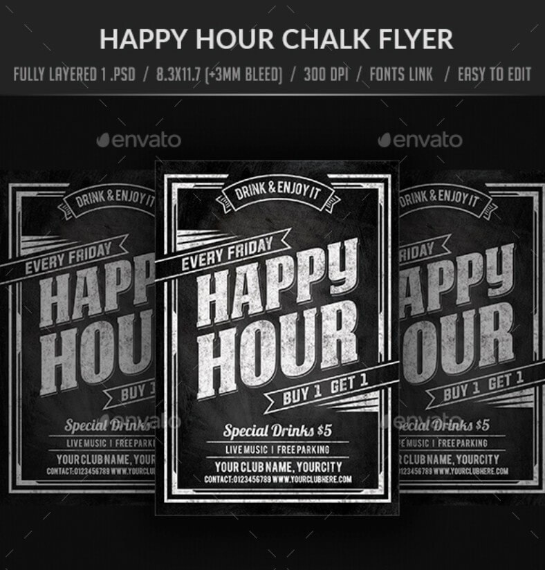 Happy Hour Chalk Flyer