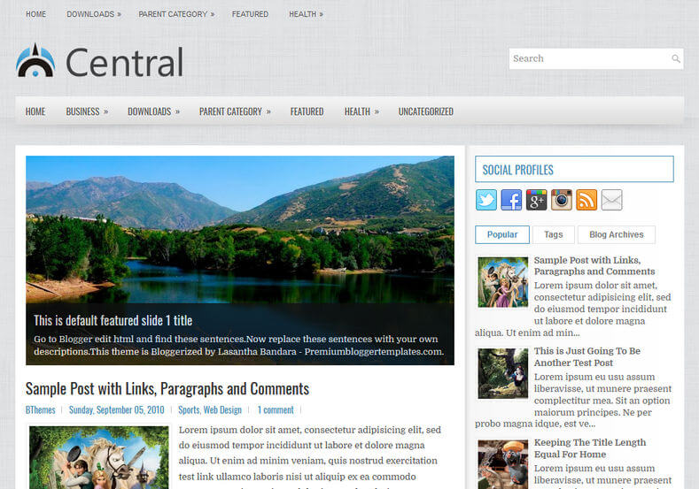 Central Blog Blogger Template
