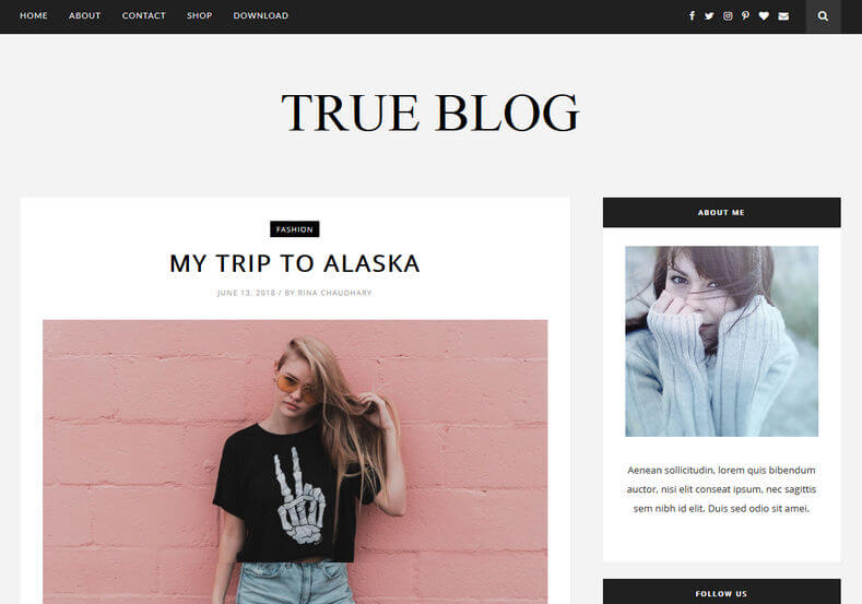 True Blog Template