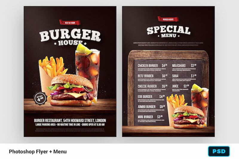 Burger Flyer Mockup Template