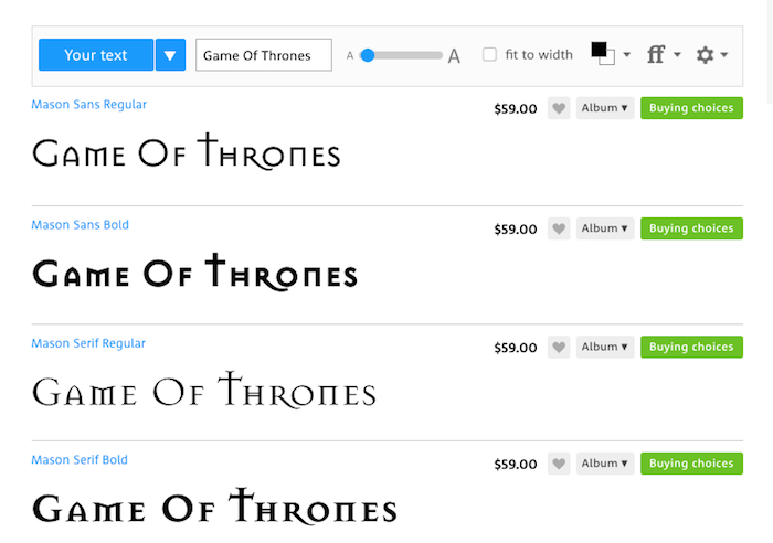 10 Best Game of Thrones Fonts