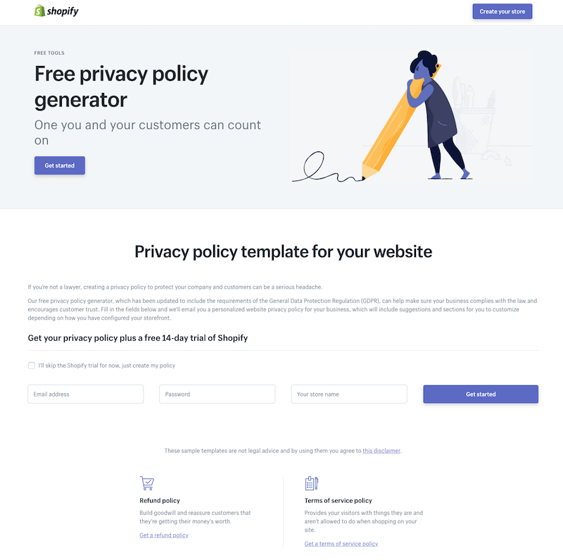 Shopify Privacy Policy Generator