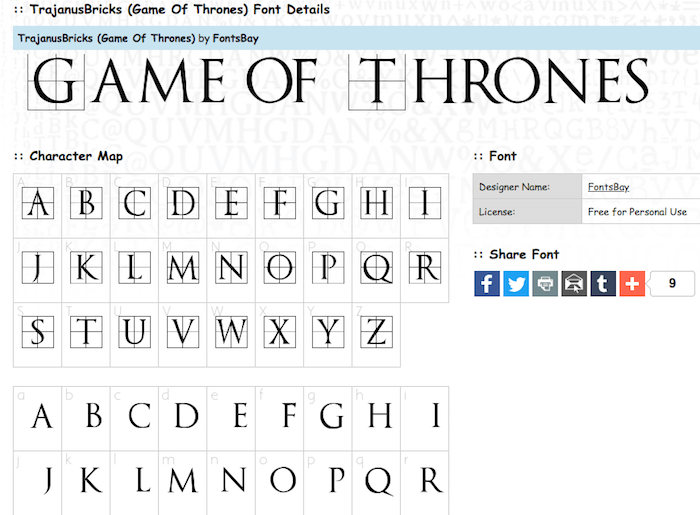 Game Of Thrones Inspired Fonts