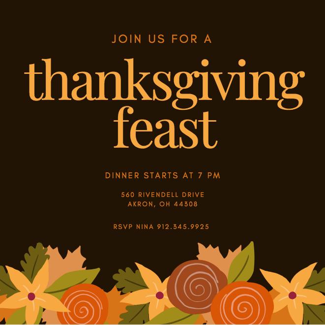 Thanksgiving Feast Invitation